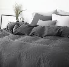dark linen duvet cover with knot ties