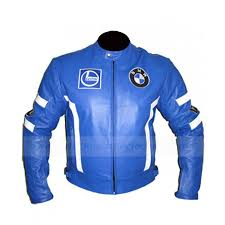 blue motorcycle racing bmw leather jacket