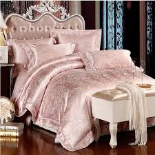 cozy inspiration satin bedspreads queen white bedding set king size romantic silk bed 4 6pcs jacquard pink beige for comforter idea 19