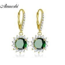 <b>AINUOSHI 10K Solid Yellow</b> Gold Drop Earring 4ct Round Cut Dark ...