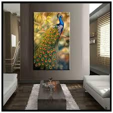 Elegant Peacock Home Decor Vertical Classic Realistic Canvas Wall