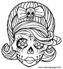 Small Picture Sugar Skull Girl Coloring Pages Printable