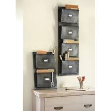 wall mounted office organizer. Furniture, Old And Vintage 2 Metal Wall Mounted File Or Letter Organizer With 4 Pockets Above Wood Chest Of Drawer Ideas ~ Office A