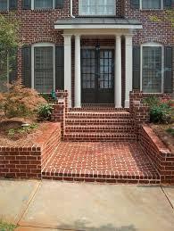 front yard red brick retaining wall