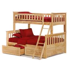 Red Oak Bedroom Furniture Brown Stained Oak Wood Bunk Beds With Red Cover Bed Set And Stairs