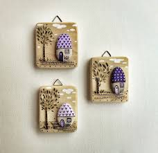 wood wall hanging reclaimed wood and painted stones whimsy houses painting art painting on wood and pebbles