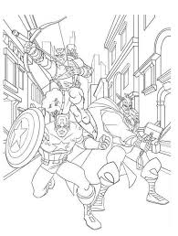 Small Picture Avengers Character Hawkeye and Captain America and Thor Coloring
