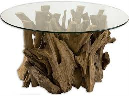 uttermost driftwood 36 round glass top cocktail table