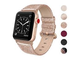 swees leather band compatible apple watch 38mm 40mm genuine leather shiny bling glitter strap compatible