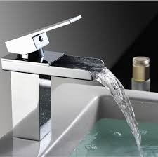 waterfall sink faucet. Exellent Waterfall Sink Faucet Bathroom Waterfall Faucet Brass Made Chrome Surface Mixer Taps  One Handle Deck Mounted In E