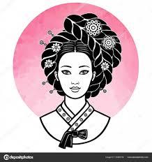 古代の髪型と若い韓国人の女の子の肖像画ピンクの太陽水彩画の模倣を