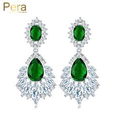 cubic zirconia chandelier earrings luxury silver color jewelry green long chandelier cubic crystal bridal wedding big