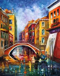 venice bridge palette knife oil painting on canvas by leonid afremov size 24 x30 60cm x