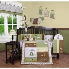 boys crib bedding frog turtle green brown 13 pc set baby toddler nursery quilt