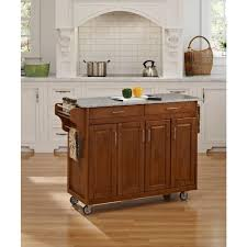 White Kitchen Cart With Granite Top Home Styles Create A Cart Warm Oak Kitchen Cart With Salt And
