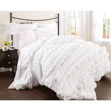 cozy white ruffle bedding