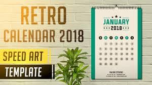 Photoshop Calendar Template 2020 Retro Calendar 2020 Photoshop Cc Speed Art Template