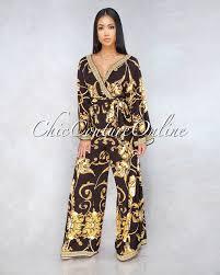 <b>Victoria</b> Black Gold Print Jumpsuit в 2019 г. | Юбочки и брючки ...
