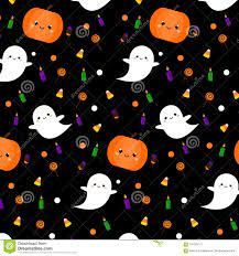 Halloween Pattern With Cute Ghosts ...