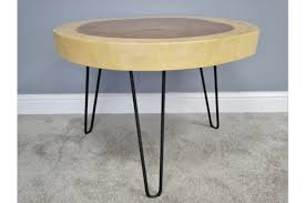 solid suar wood round coffee table black metal legs