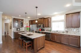 dark stained kitchen cabinets. Large Kitchen With Beautiful Decor: Mosaic Tile Backsplash, Dark Stain Cabinets, Island. Stained Cabinets T