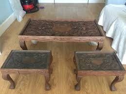 set of 3 solid walnut tables from india large coffee table and two small matching tables
