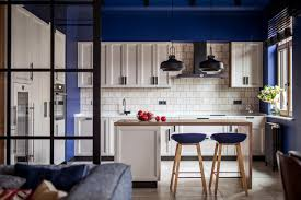Kitchen With Blue Walls Modern Kitchen Island Tiled Accent Wall Blue Walls Pendants Lights