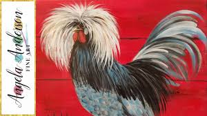 rooster 3 colors challenge acrylic painting tutorial for beginners live