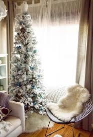 The Holiday Aisle Flocked Alaskan 65u0027 White Pine Artificial Slim Flocked Christmas Trees Artificial
