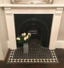 original victorian fireplace with black and white tiles hearth decor tiles