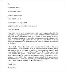 letter of intent for job 15 sample letters of intent for a job resume cover