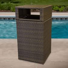 wicker trash basket wonderful patio can with outdoor regard to remodel 2