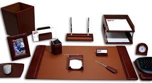 mocha brown 16 piece classic leather desk set