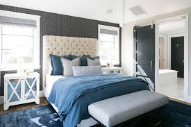 blue bedroom ideas. Beautiful Blue Pair Patterned Wallpaper With A Solidcolored Bedspread And Decor For  Balance In Your Blue Bedroom Throughout Blue Bedroom Ideas