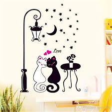 cat wall sticker for kids room lamp erflies stickers decor decals removable cartoon lovely birthday wedding party decoration canada 2019 from