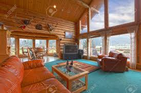 cabin living room furniture. large living room in the rustic log cabin on horse farm stock photo 12312295 furniture