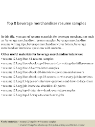 Beverage Merchandiser Sample Resume Impressive Top 44 Beverage Merchandiser Resume Samples
