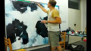 large abstract painting black white acrylics