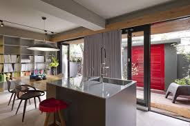 beautiful kitchen design ideas with gray kitchen island and also with th ewooden dining table also