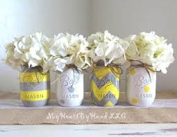 Ball Jar Decorations Yellow and Gray Mason Jar Centerpieces Baby Shower Mason Jars 17