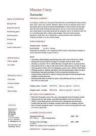 Bartender Resume Hospitality Example Sample Job