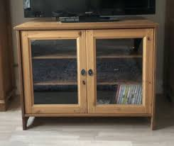 ikea pine leksvik tv unit with glass