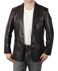 more views men fitted mens black leather blazer