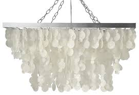 rectangular rain drop capiz chandelier natural white
