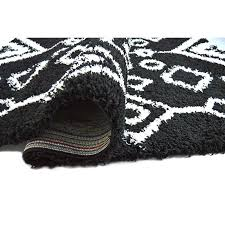 tribal black white area rug and wool felted union rustic