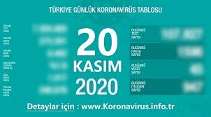 20 Kasım Bugünkü Korona Tablosu ve Vaka Sayısı | Koronavirüs Türkiye Tablosu,  Dünya Haritası, Grafikler, Haberler