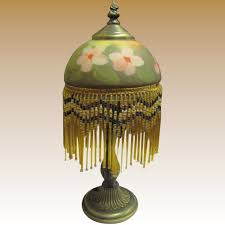 vintage victorian style beaded fringe boudoir lamp w reverse painted rose glass shade to expand