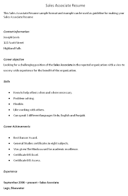Objective For Resume Retail Sales Associate Good Resume Objective