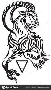 Signo Capricórnio Criatura Mitológica Estilo Tribal Tatuagem Cabra