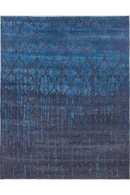 damask pattern blue handknotted rug